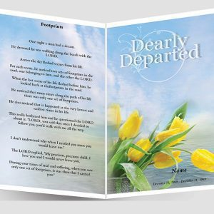 Front Footprints Funeral Program Template