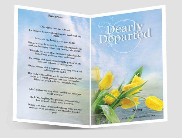 Front Footprints Funeral Program Template