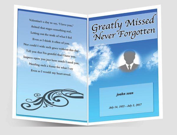 Front Sky Blue Funeral Program Template