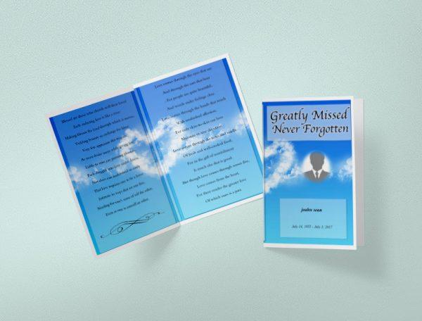 Main Sky Blue Funeral Program Template