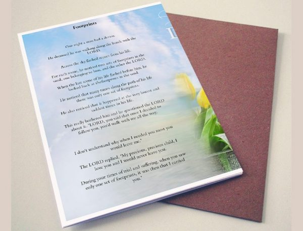 Back Footprints Funeral Program Template