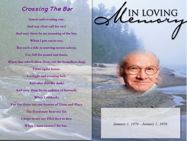 Front Afterglow Funeral Program Template