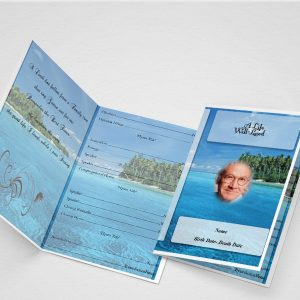 Main Blue Flower Funeral Program Template