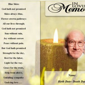 Front Yellow Candle Funeral Program Template