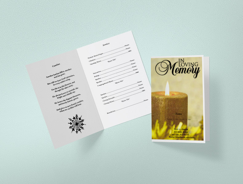 Foldable Funeral Templates