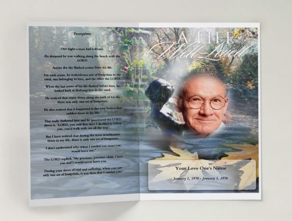 Front Evergreen Funeral Program Template