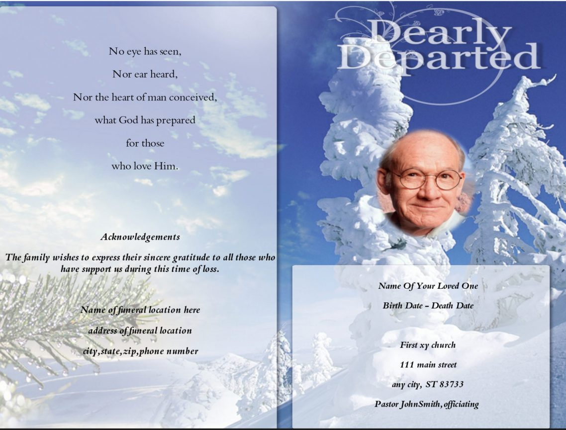 Booklet Templates For Funerals