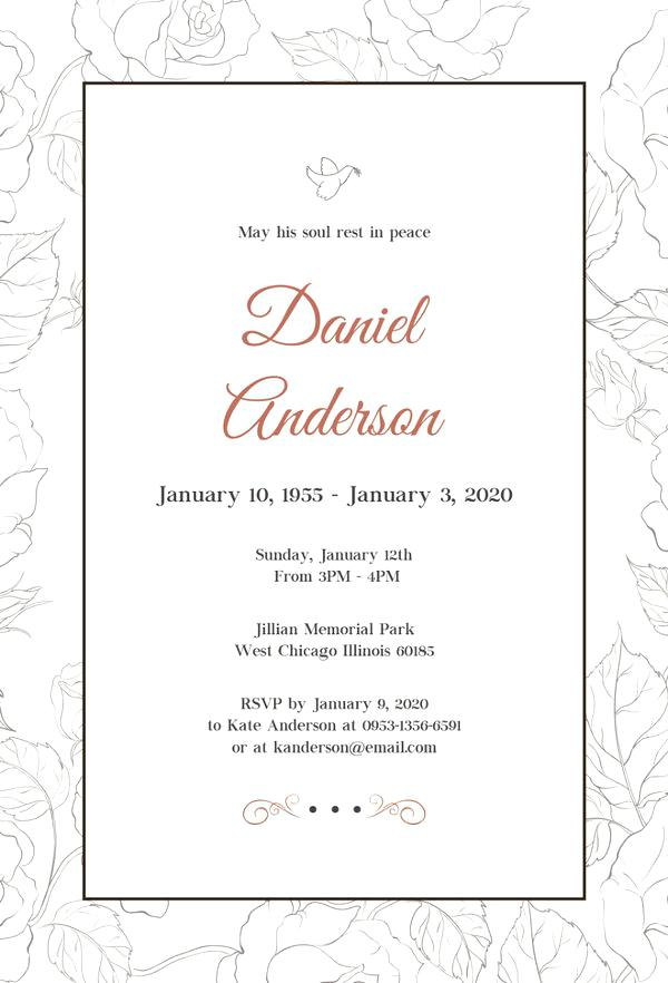 free funeral invitation templates