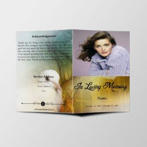 Dove Forest Funeral Program Template