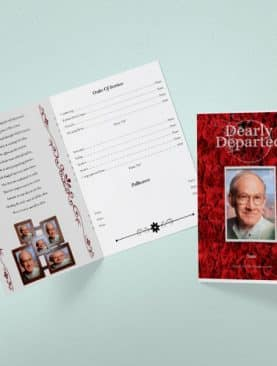Dark Rose Tabloid Funeral Program Template