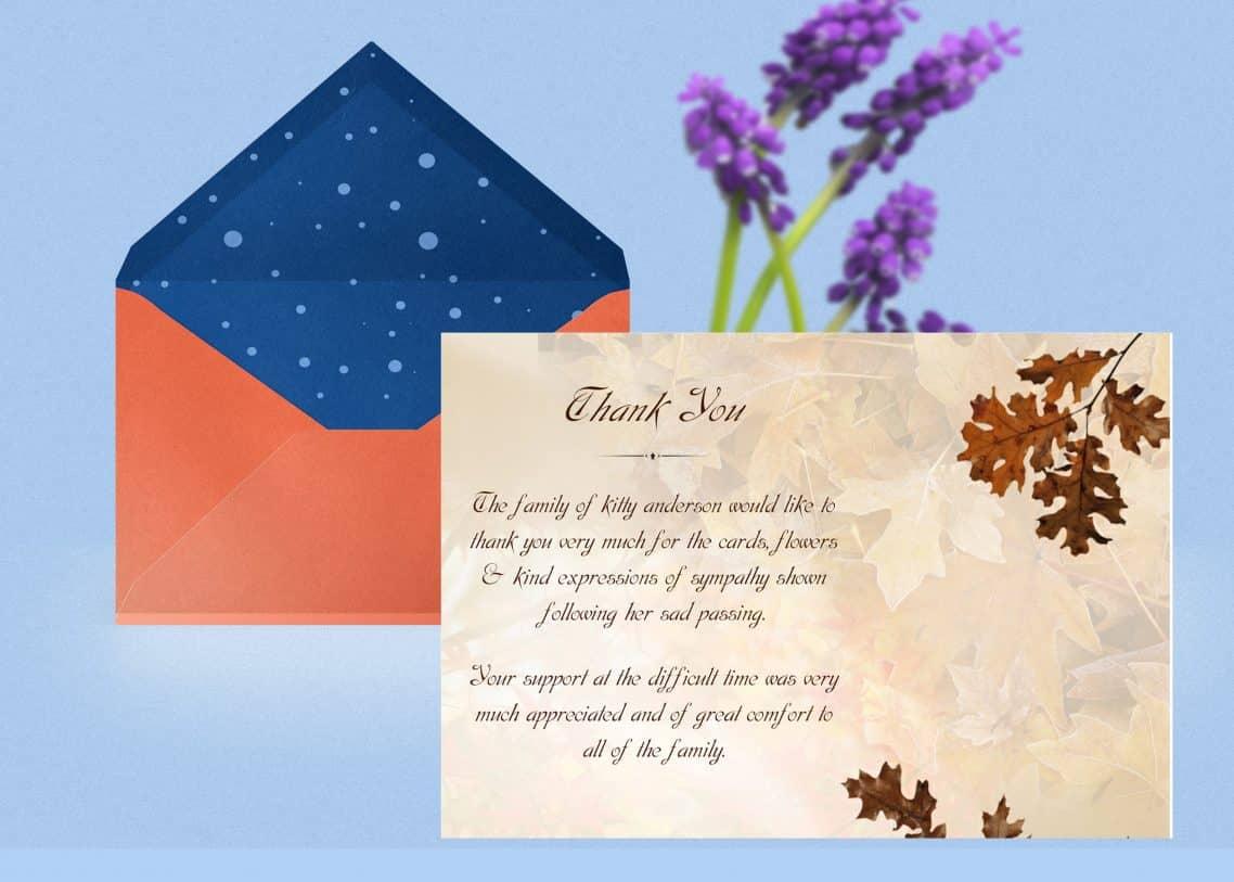 funeral thank you card  funeral thank you card template