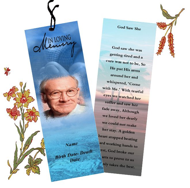 funeral bookmarks template