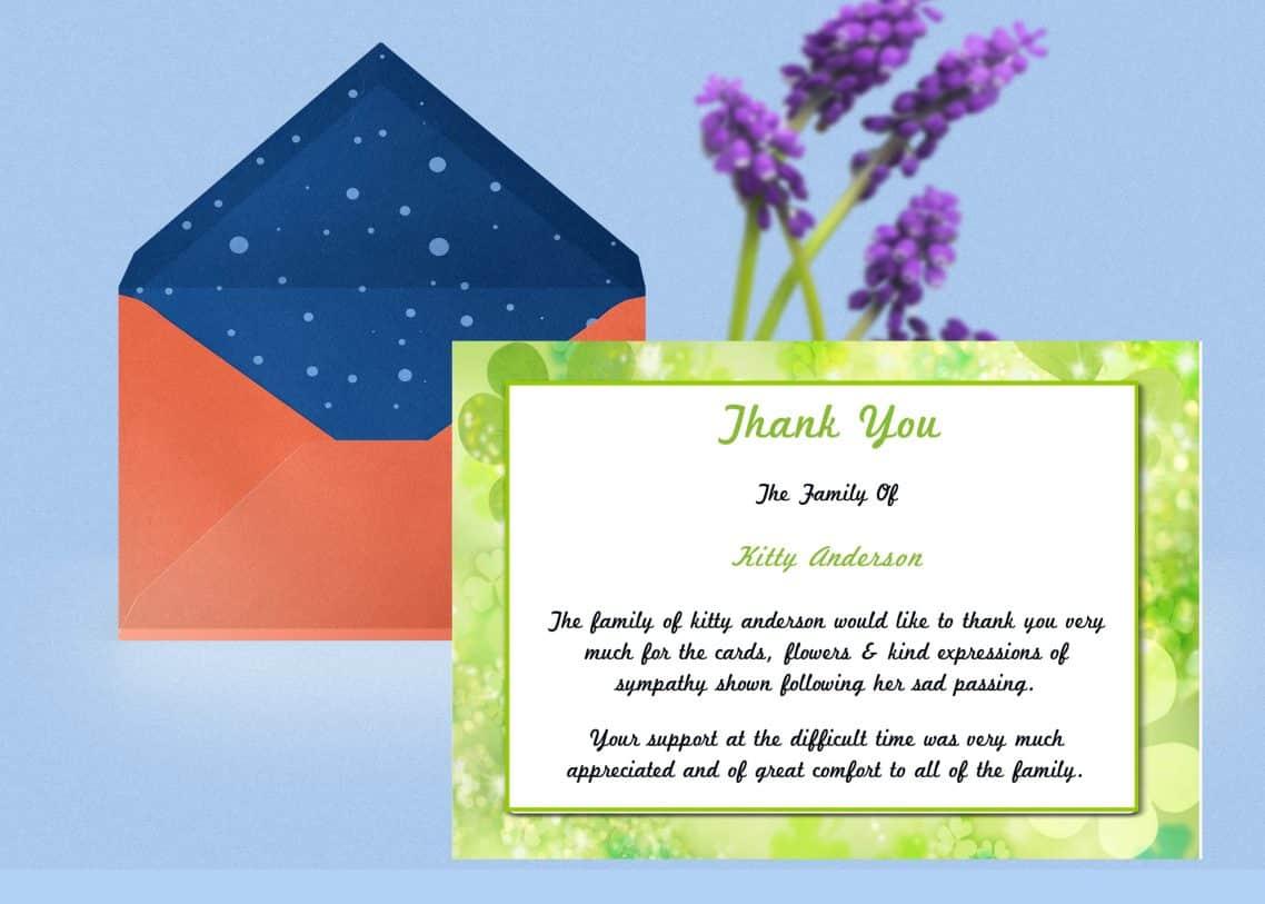 irish green thank you card template  funeral thank you card