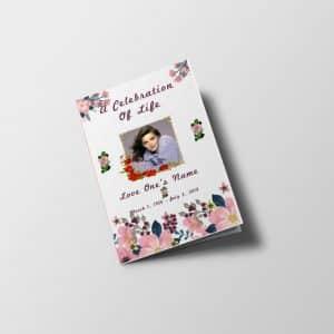 Pink Floral Funeral Program Half Letter Size