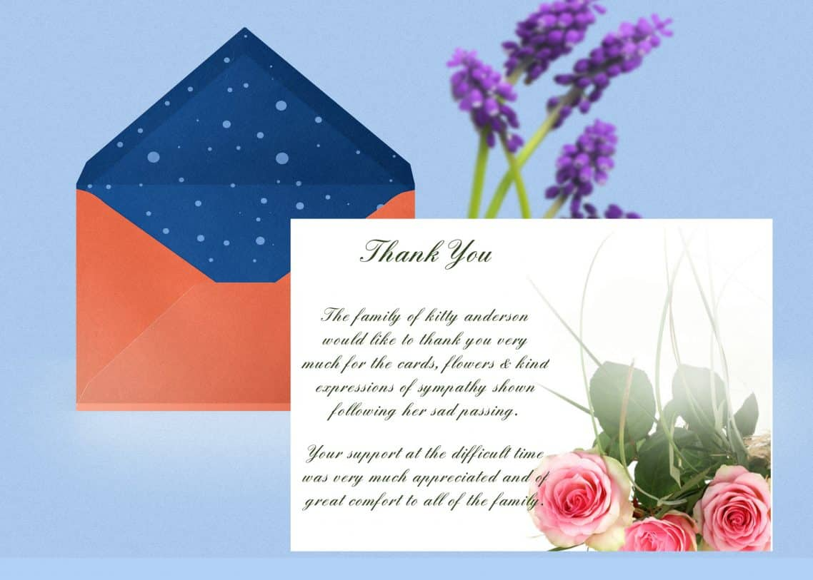 pink rose thank you card template