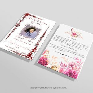 Red Floral Funeral Invitation Template