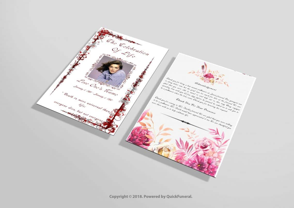Red Floral Funeral Invitation Template Funeral Invitation Template