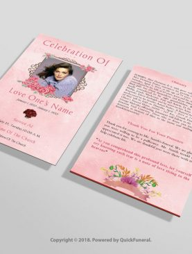 Rose Pink Funeral Invitation Template