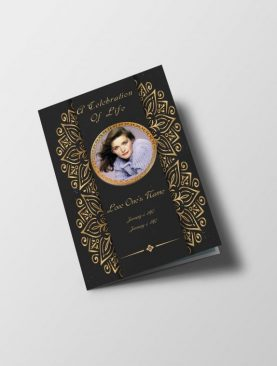 Royal Gold Funeral Program Half Letter Size