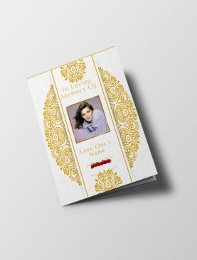 White Gold Dignity Funeral Program Letter Size