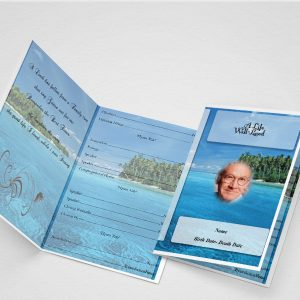 Blue Flower Funeral Program Word Template