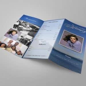 Ocean Trifold Funeral Program Word Template