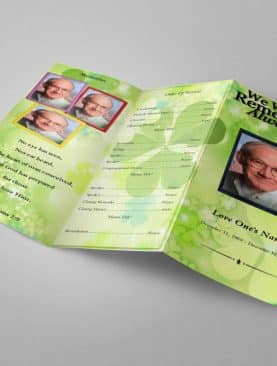 Irish Green Trifold Funeral Program Template