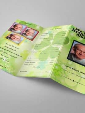 Irish Green Trifold Funeral Program Template