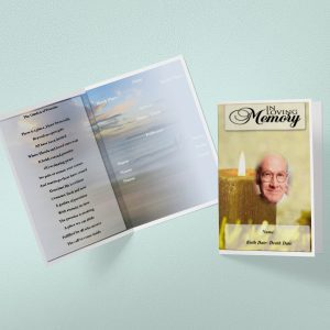 Yellow Candle Funeral Program Word Template