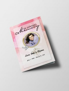 Pink Diamond Funeral Program Template