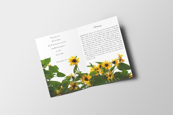 Sunflower Funeral Program