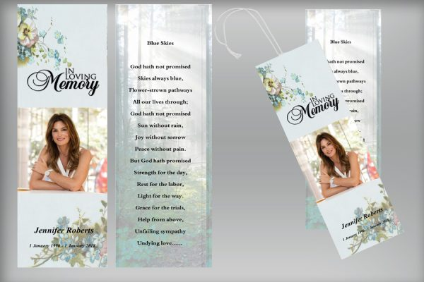 royal natural funeral bookmarks