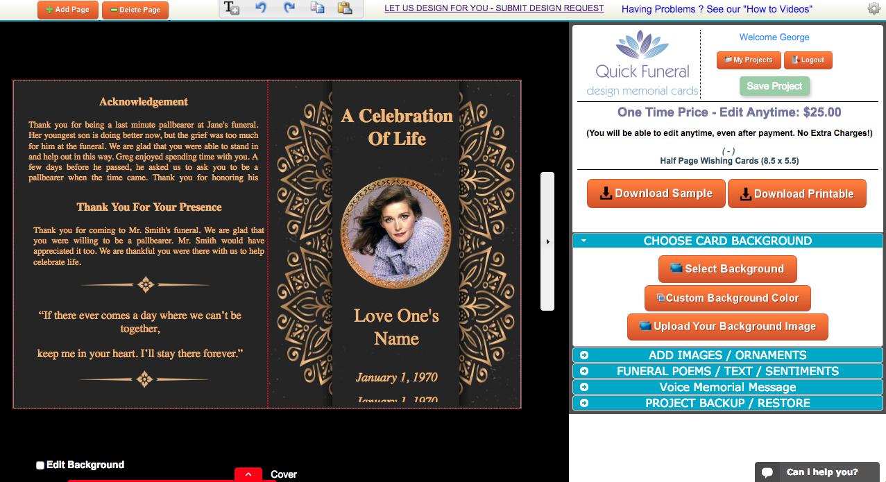 Creating Funeral Programs Online