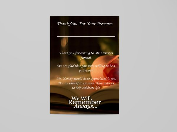 bible funeral program template simple back