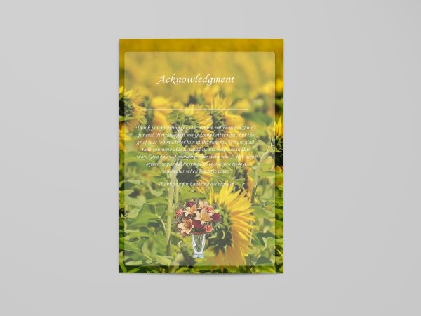 sun flower floral funeral program template back