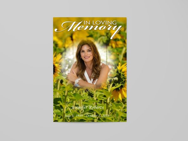 sun flower floral funeral program template front