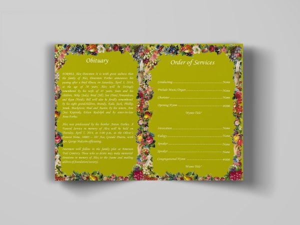 sun flower floral funeral program template inside panel