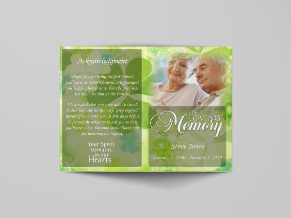 Celtic irish green funeral program template simple full cover