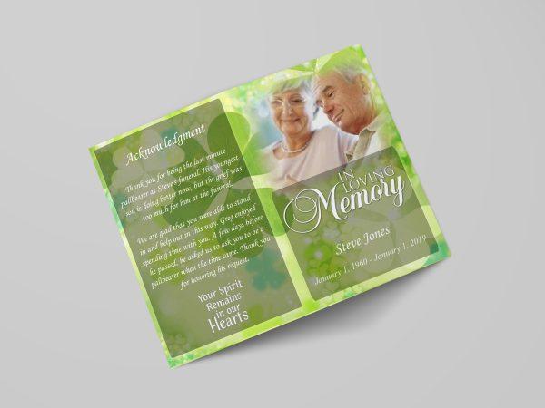Celtic irish green funeral program template stylish cover rotated
