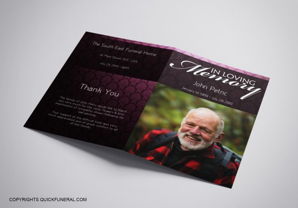 non religious funeral program template brochure