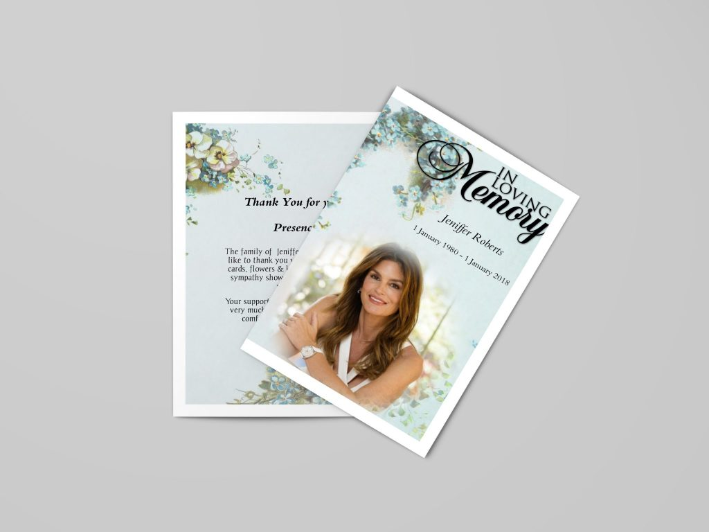 memorial cards and program templates for funeral