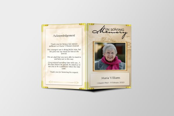 Golden Pearls Funeral Program Template