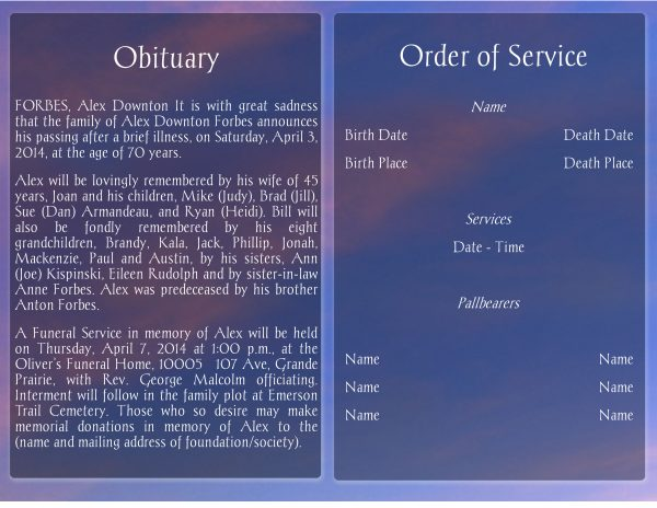 Sunset Funeral Program Template Booklet Page 2