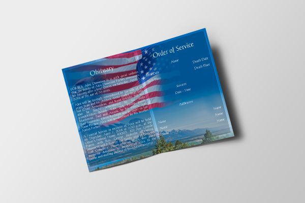 US Flag Funeral Program Template Inside