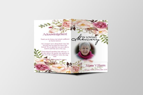floral garden funeral program template cover