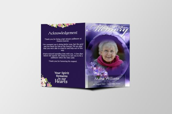 Purple Bloom Funeral Program Template Cover