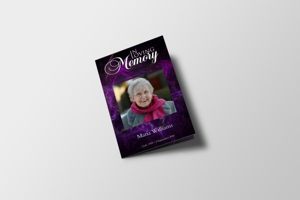 Purple Funeral Program Template