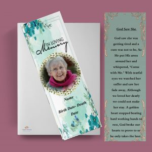 Floral Funeral Bookmark Template