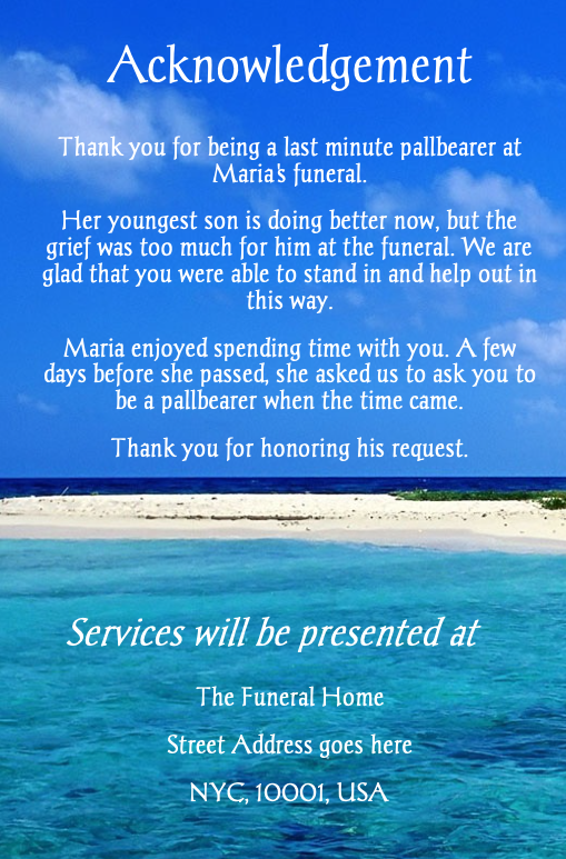 beach funeral program template back cover