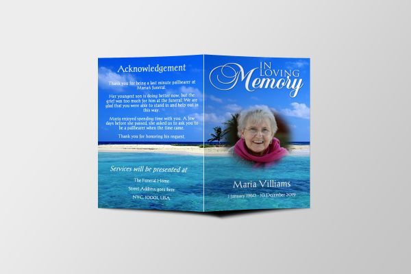 beach funeral program template covers